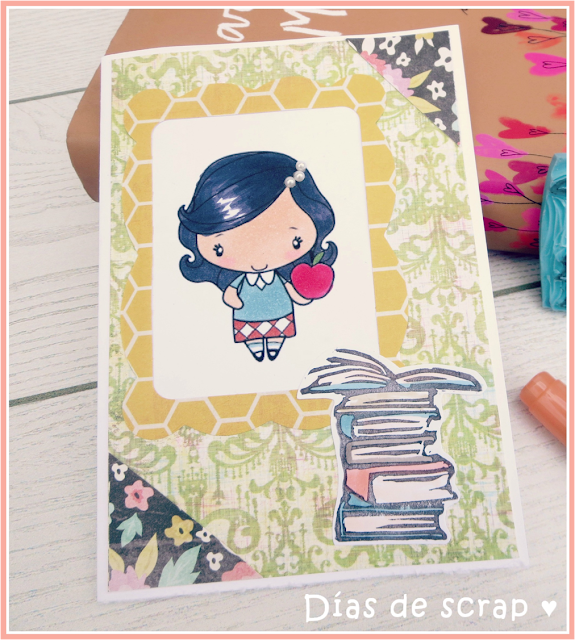 "scrap Postal para el reto TGF FFF September ""Back to school"" handmade carved stamp"