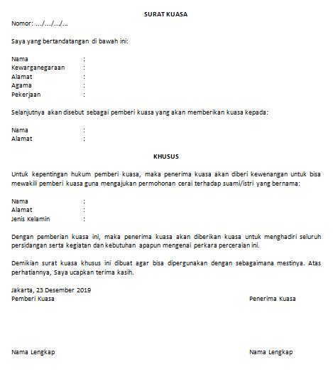 Contoh Surat Kuasa Khusus (via: suratresmi.id)