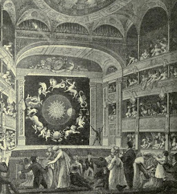 The Proscenium of the English Opera House (The Lyceum)  as it appeared on March 21 1817 with Walker's Exhibition, the   Eidouranian from The Lyceum and Henry Irvine by A Brereton (1903)