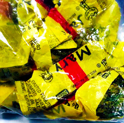 Discovered marijuana concealed in candy wrappers