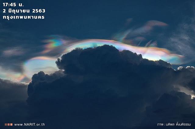 หมวกเมฆสีรุ้ง  เกิดขึ้นจากการคุณสมบัติแทรกสอดของแสง