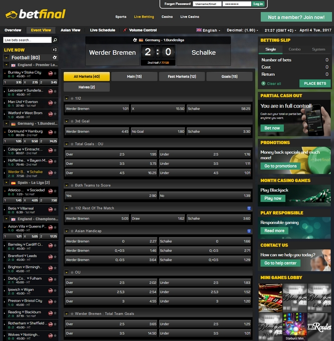 Betfinal Live Betting Screen