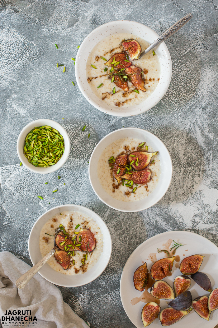 Fig mascarpone and oat porridge a warming and delicious breakfast, topped with roasted figs, mascarpone cheese and pistachio nuts.