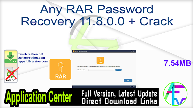 Any RAR Password Recovery 11.8.0.0 + Crack