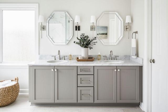 white vanity bathroom design ideas