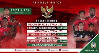 Jadwal Timnas Indonesia 16-25 November 2017 - Siaran Langsung RCTI