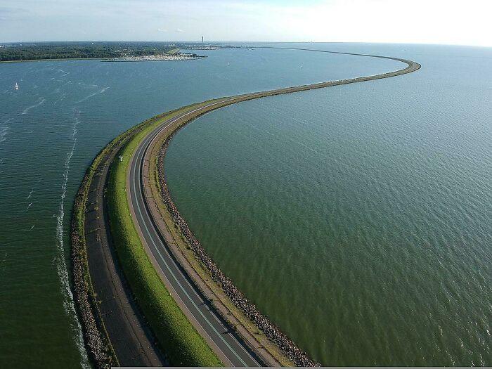 View of the 30-kilometer Houtribdijk dam in the Netherlands