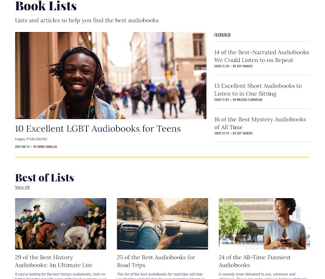 Chirp website screenshot - top of Book Lists page