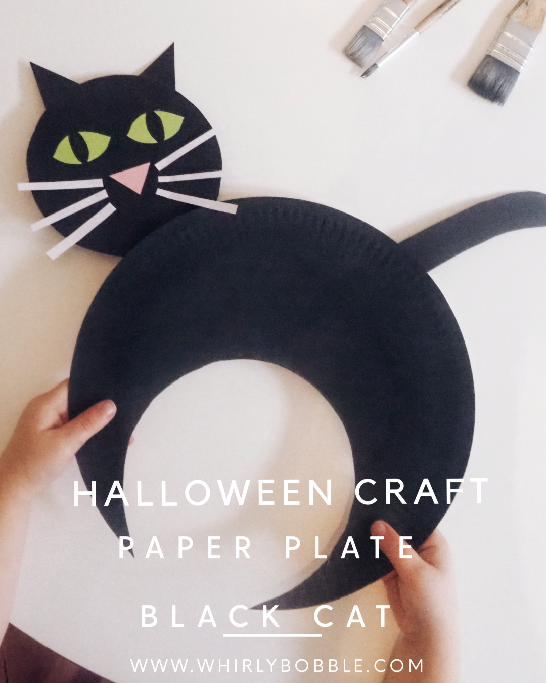 DIY Halloween Paper plate black cat