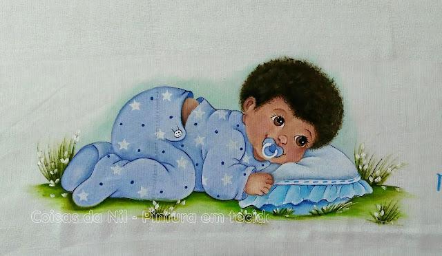 pintura tecido fralda pintada para bebe moreno