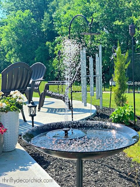 bird bath with solar fountain