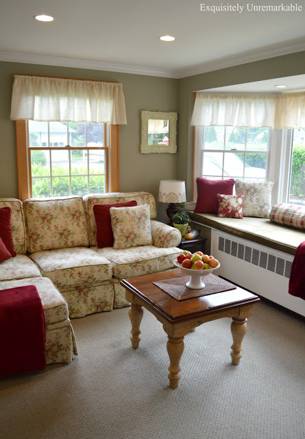 Cottage Style Family Room with floral couch