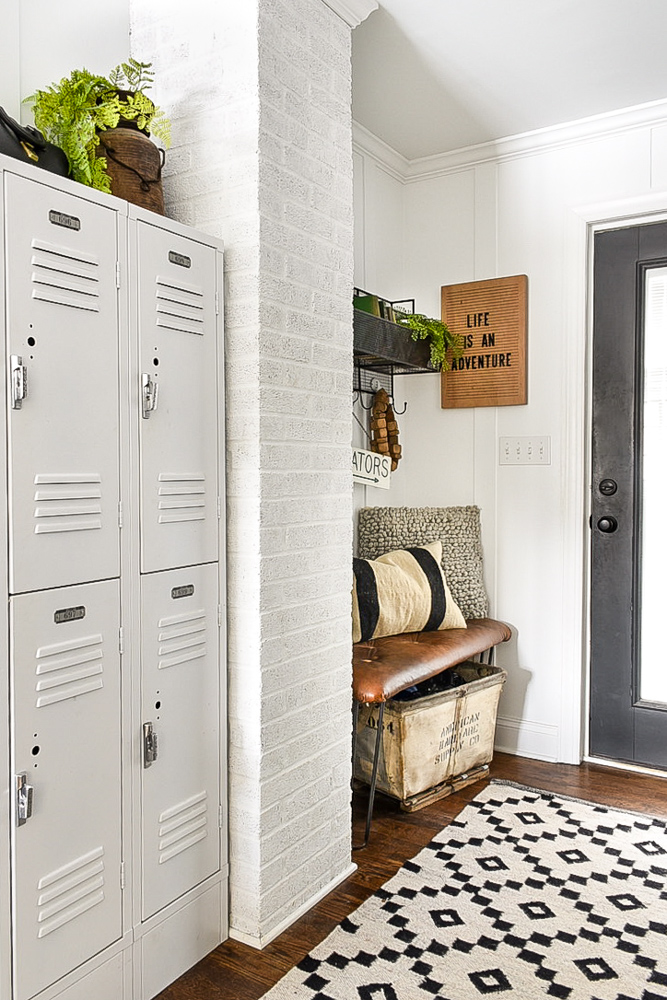 vintage modern neutral mudroom