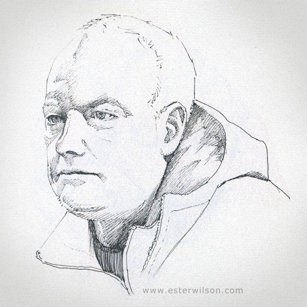 Drawing portrait of a curling coach in my Sketchbook