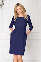Rochie de primavara albastru-inchis scurta din stofa