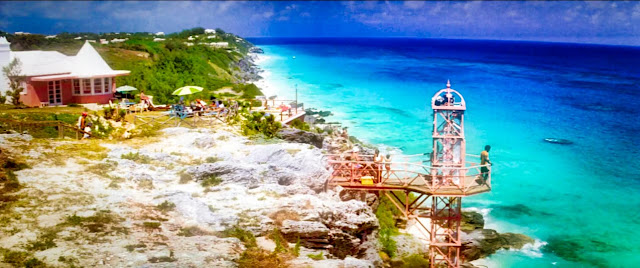 The Cliffs of Marley as 'Orange Grove Hotel' above Bermuda's Marley Beach (Source Sony Pictures)