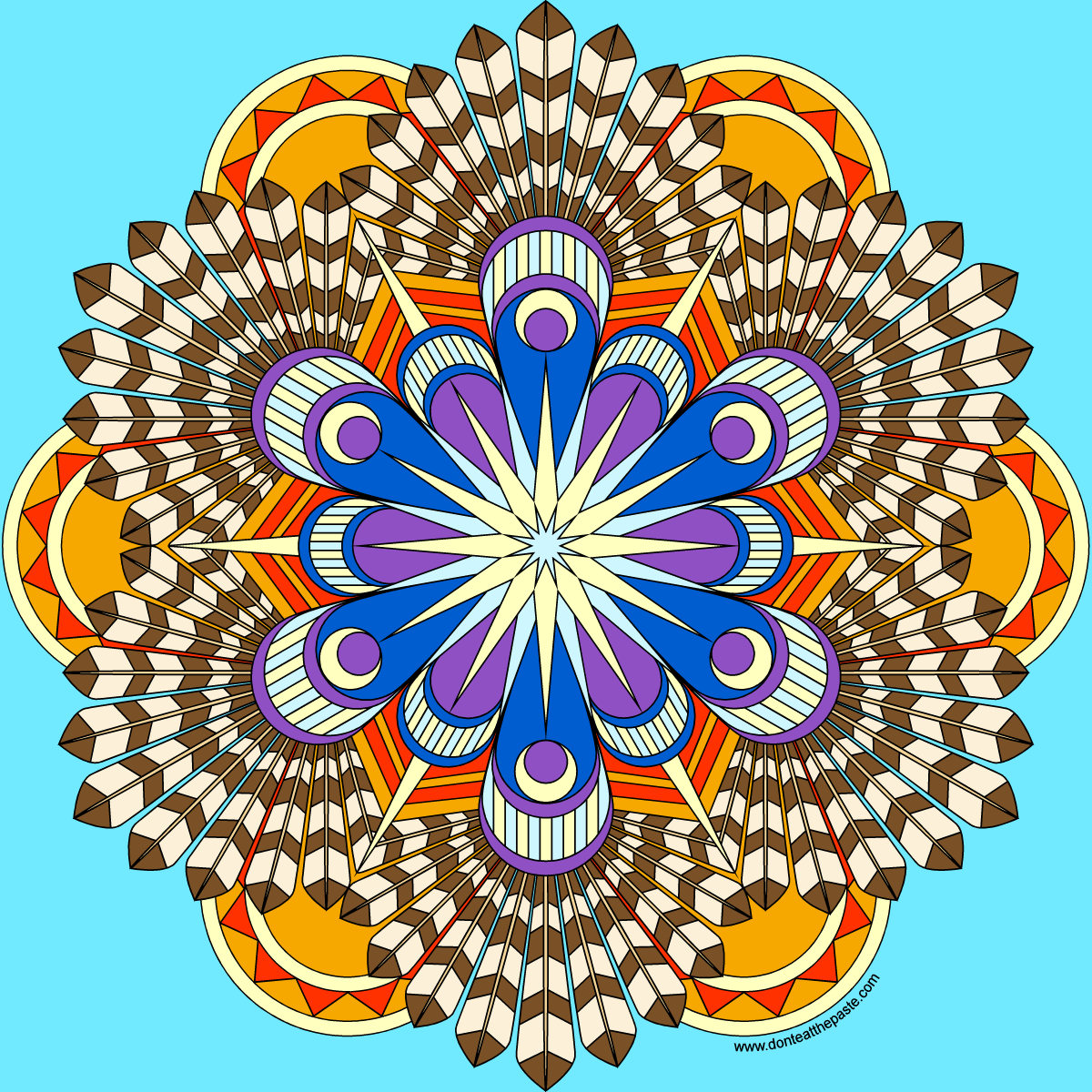 Don't Eat the Paste: Feathers Mandala coloring page