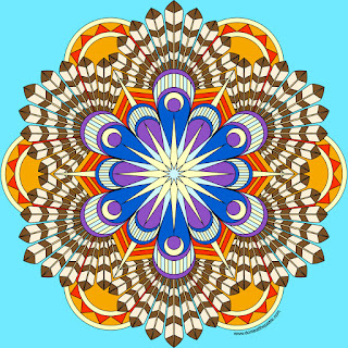 Turkey Feathers Mandala with a blank version to color- click through