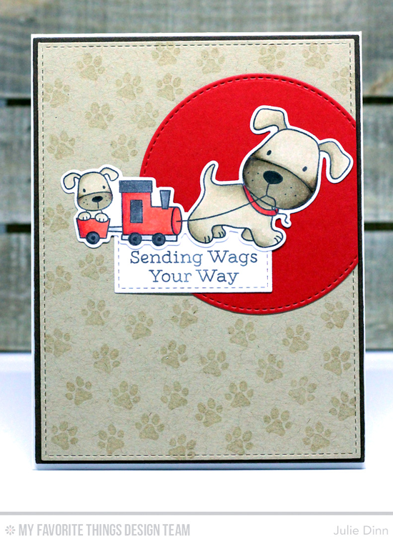 Handmade card from Julie Dinn featuring Birdie Brown Lucky Dog stamp set, Playful Pups stamp set and Die-namics, Stitched Circle STAX, Stitched Rectangle STAX, Blueprints 2, and Blueprints 13 Die-namics #mftstamps