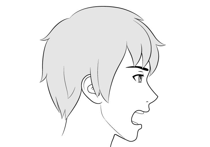 Tampilan sisi wajah pria anime berteriak menggambar