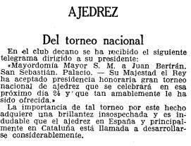 Recorte de La Vanguardia sobre el Torneo Nacional de Ajedrez Barcelona 1926, 17/9/1926 (continuación)