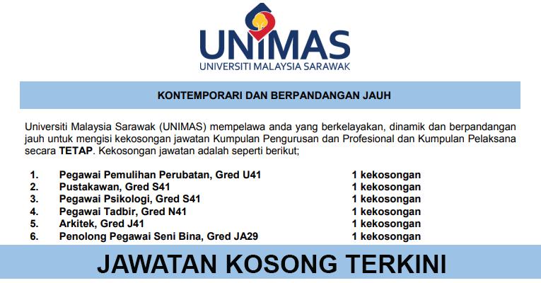 Kekosongan Terkini di Universiti Malaysia Sarawak (UNIMAS)