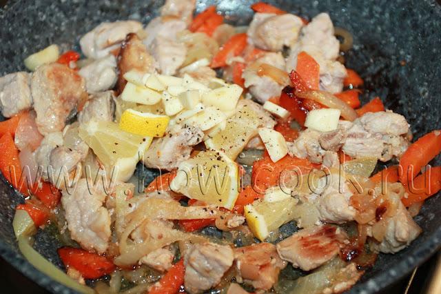 рецепт свинины с лимоном и овощами на сковороде с пошаговыми фото