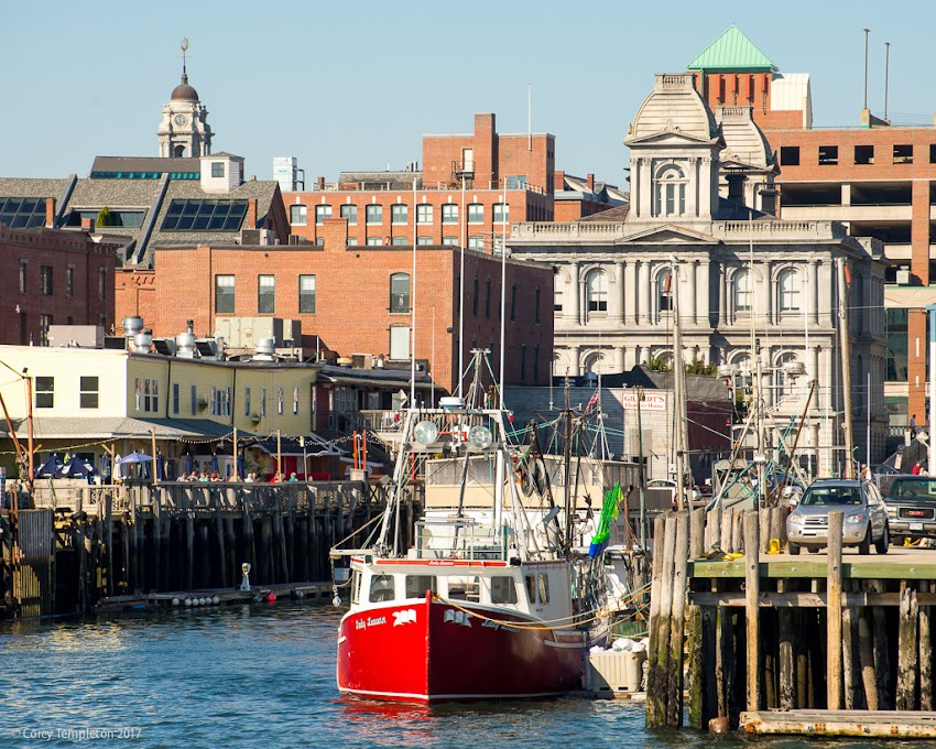 Portland, Maine USA October 2017 photo by Corey Templeton. Passing by Custom House Wharf (on the left) and Maine Wharf (on the right).