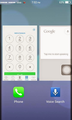 Micromax A63 iOS 7 Rom Recent Apps Preview