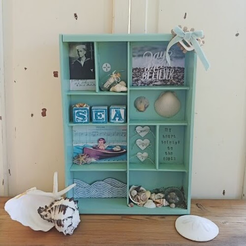 Upcycled Divided Tray to Beach Themed Shadow Box