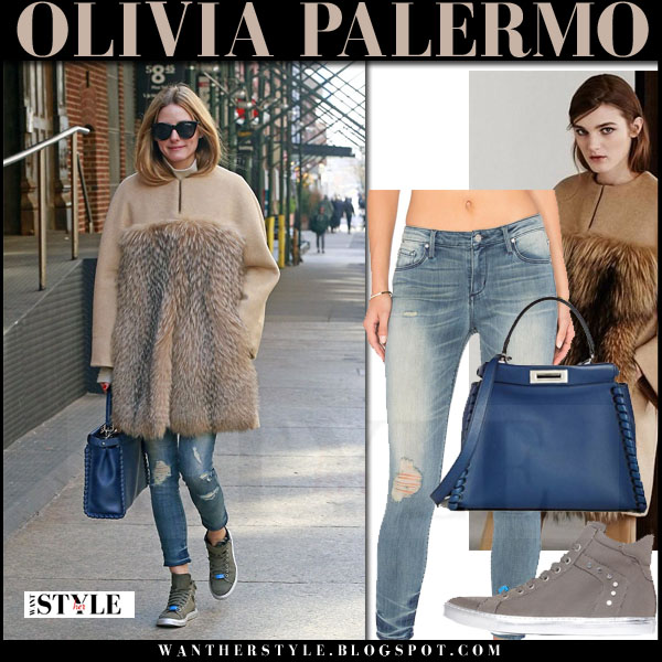 Olivia Palermo in camel fur panel max mara coat, ripped skinny black orchid jude jeans with blue leather fendi whipstitch peekaboo bag what she wore streetstyle