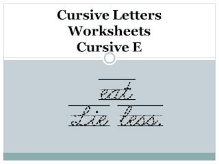 Cursive Letters Worksheets - Cursive E