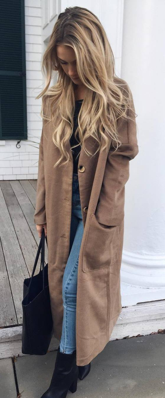what to wear with a long coat : top + bag + jeans + boots