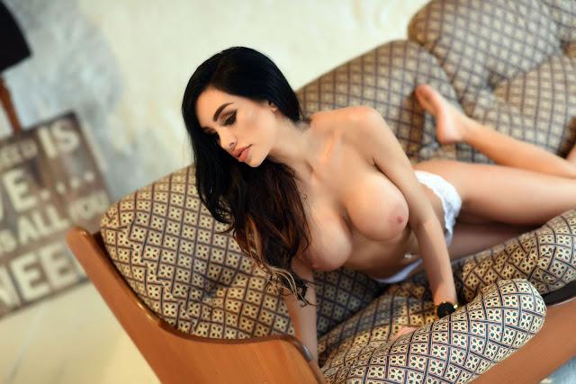 Ann Denise White Lingerie gorgeous look big naked tits