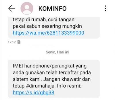 SMS Ponsel dengan IMEI Resmi