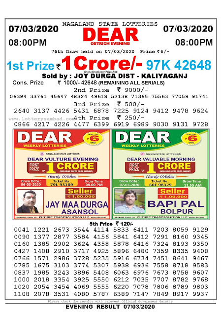 Lottery Sambad 07.03.2020 Nagaland Lottery Result 8 PM