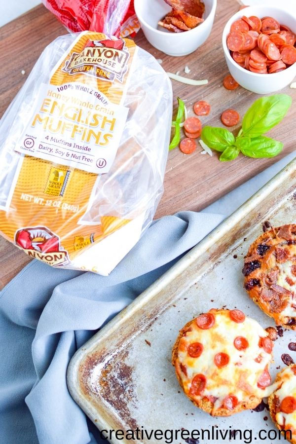 Ingredients needed to make gluten free mini pizzas with easy crusts - Canyon Bakehouse honey whole grain english muffins, sauces, cheese, toppings