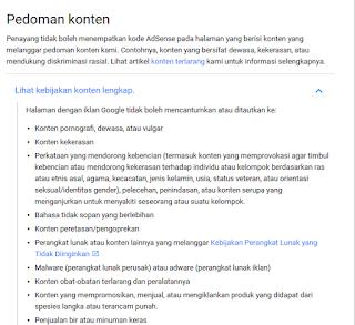 Konten kebijakan google adsense