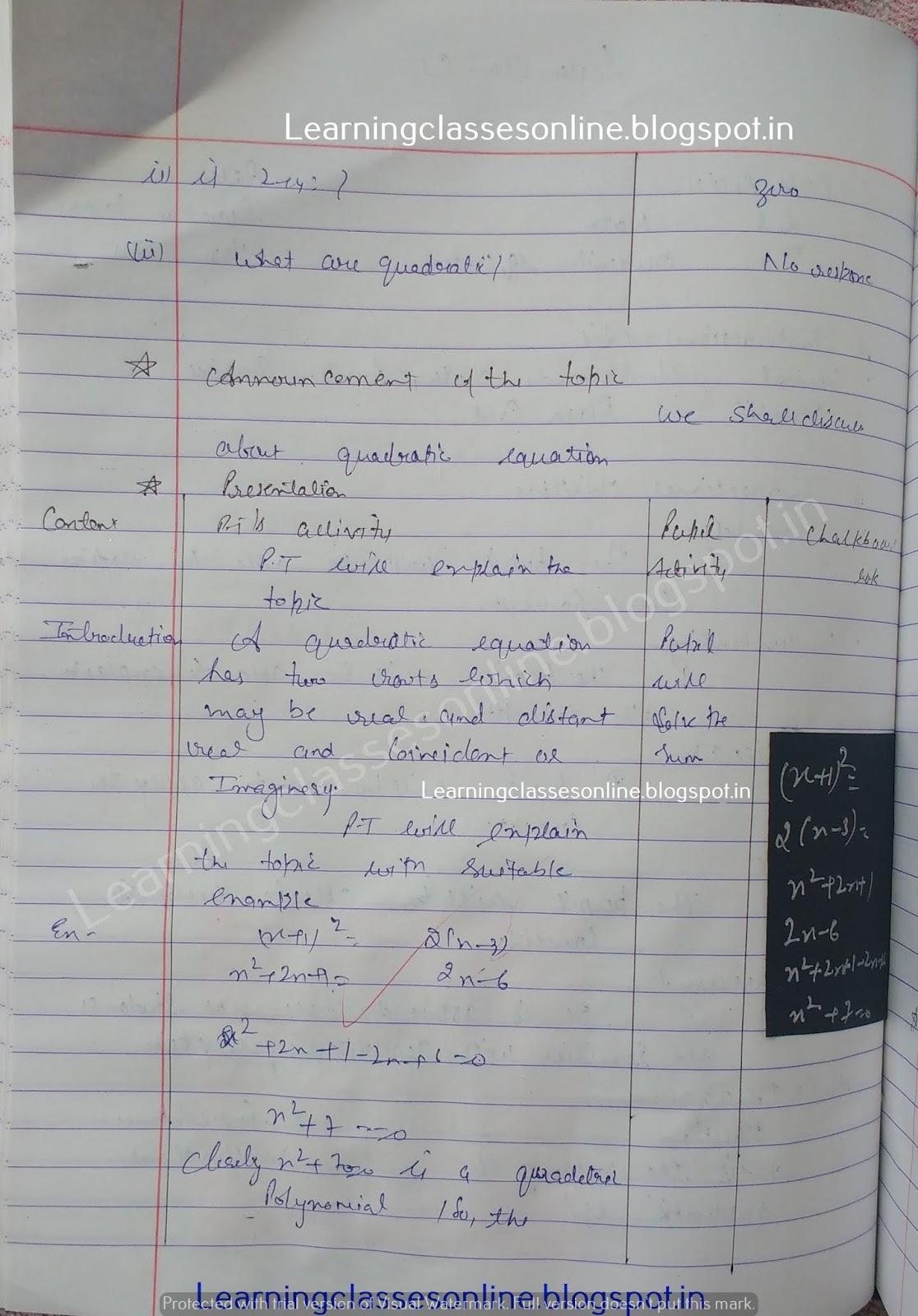 b.ed maths lesson plan , quadratic equation lesson plan math