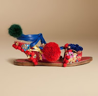 Dolce Gabbana Ornate Sandal with Pom Poms