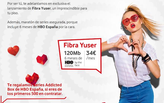 Vodafone ofrece Fibra Yuser por 34 euros al mes