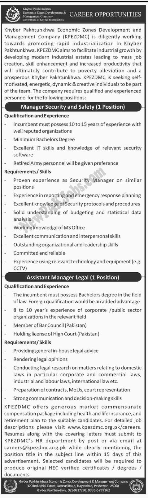 Khyber Pakhtunkhwa Economic Zones Development And Management Company, Latest Job