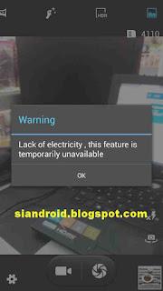 Sebab Kamera tidak berfungsi karena ada peringatan Lack of Electricity