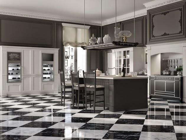 Desain Dapur Bertema Klasik Hitam Putih  Rancangan Desain