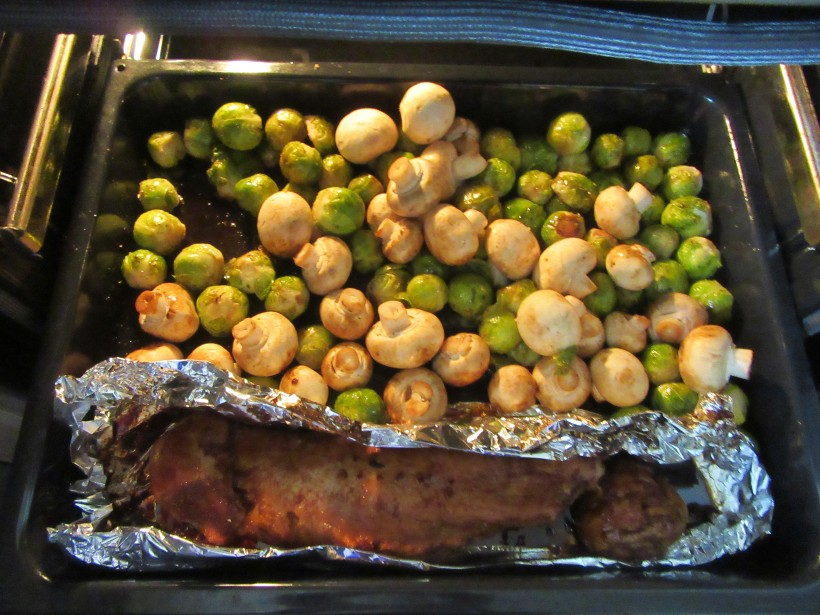 bake meat and Brussel sprouts