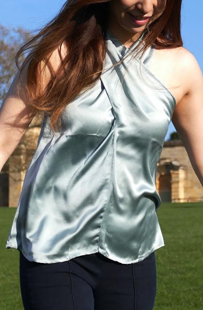 silk blouse, kalangita etsy, custom silk top, silk halter neck top, silk cross front wrap top, cross front halter top, halter top silk etsy, kalangita de