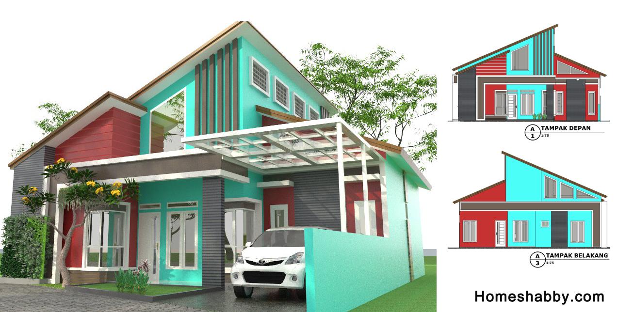 Desain Dan Denah Rumah Minimalis Modern Ukuran 11 5 X 12 M Atap Miring Dan Eksterior Yang Menawan Homeshabby Com Design Home Plans Home Decorating And Interior Design