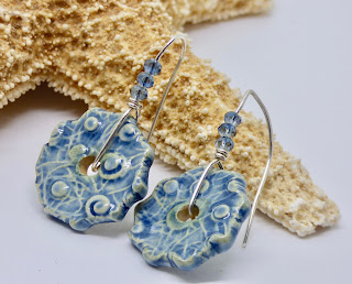 Round Blue Textured Earrings by BayMoonDesign
