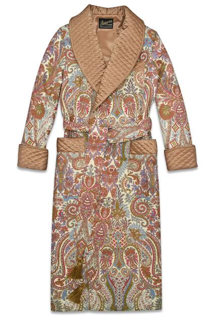 herren hausmantel paisley baumwolle seide gesteppt edel elegant stilvoll dressing gown