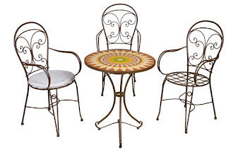 Juego de mesa redonda y sillas forja